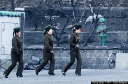 A group of North Korean soldiers patrol along the Yalu River at the North Korean town of Sinuiju on April 11, 2013.The biggest border crossing between North Korea and China has been closed to tourist groups, a Chinese official said on April 10 as nuclear tensions mounted, but business travel was still allowed. AFP PHOTO / WANG ZHAO (Photo credit should read WANG ZHAO/AFP/Getty Images)